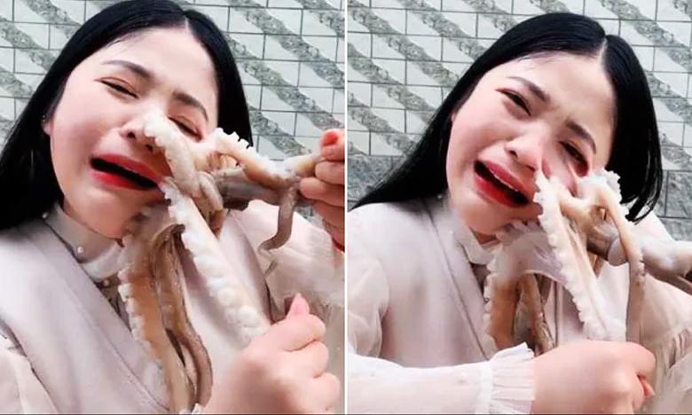 Blogger Tries To Eat Octopus Alive, It Latches Onto Her And Fights Back, ఆక్టోపస్ కాటేస్తే.. బేర్ మంది..