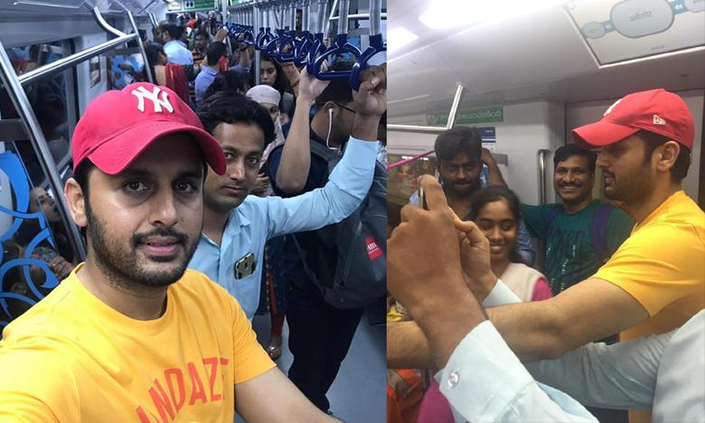 Hero Nithiin takes metro to beat the traffic in Hyderabad and posts pics on facebook, మెట్రో జర్నీ సూపర్ గురూ!