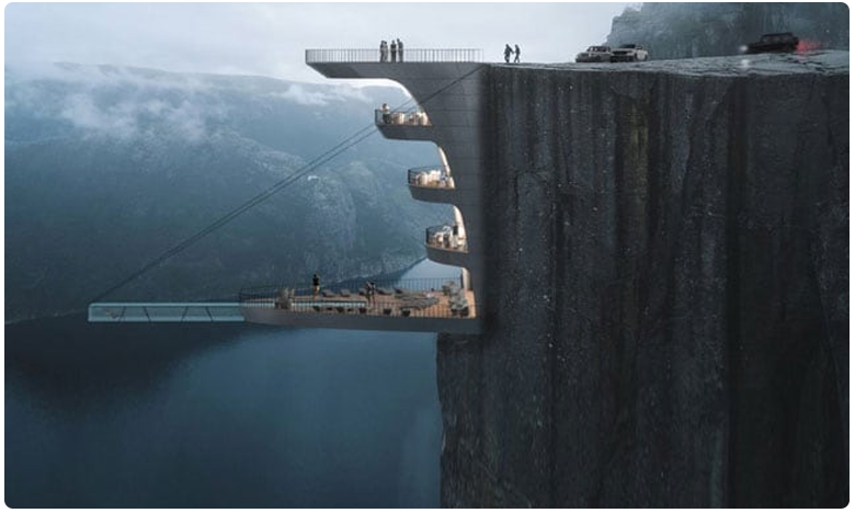 scenic or scary.. this insane hotel will hang off a 1981 foot cliff, కొండమీద హోటల్.. ఎక్కితే గుండె గుభేల్ !