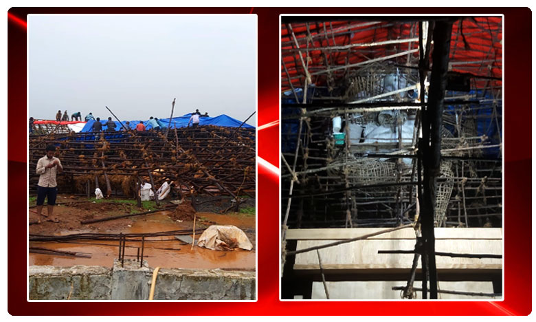 Lord Ganesh collapsed due to Heavy Rainfall in Vizag, Visakhapatnam, Vizag, Lord Ganesh collapsed, Lord Ganesh, Vinayaka Chavithi, Heavy Rainfall, Gajuwaka, AndharPradesh, 70 feet Ganapayya