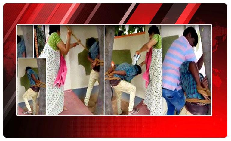 Youth beaten by woman for misbehaving with her, వెకిలి చేష్టలు చేశాడని.. వీపు చిత్తడి చేసిన మహిళ