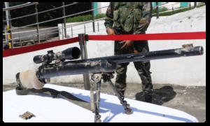 Army says Pakistan trying to disrupt peace in Kashmir.. displays weapons found on Amarnath route, అమర్నాథ్ యాత్ర మార్గంలో అమెరికన్ మేడ్ స్నైపర్ రైఫిల్