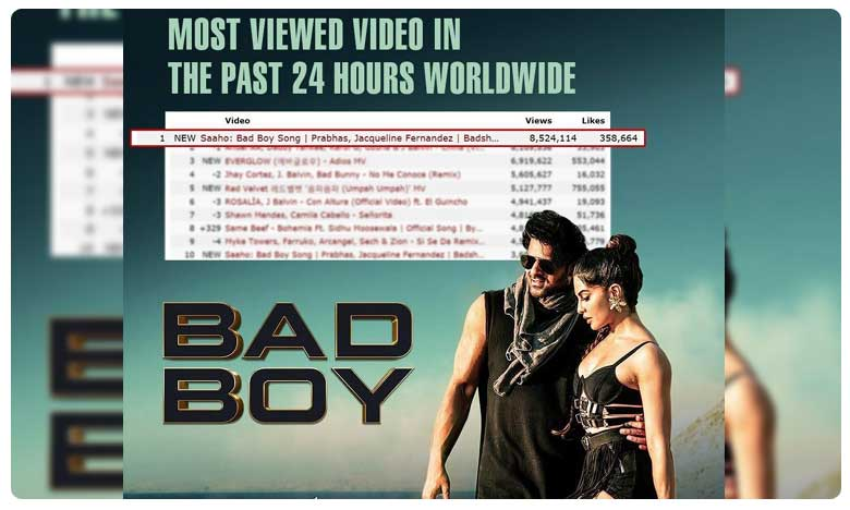 Bad Boy Song From Saaho Tops World Charts, Most Viewed Video in 24 Hours Worldwide