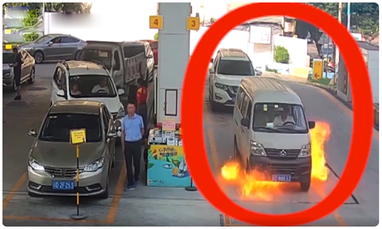 driver nosedives out of his van window seconds before it caught fire