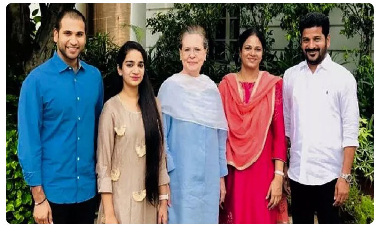 Revanth reddy family meets congress chief Sonia Gandhi