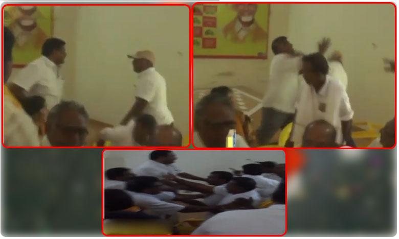 Fight between TDP activists in Nalgonda District, టీడీపీ కార్యాలయంలో కొట్టుకున్న తెలుగు తమ్ముళ్లు