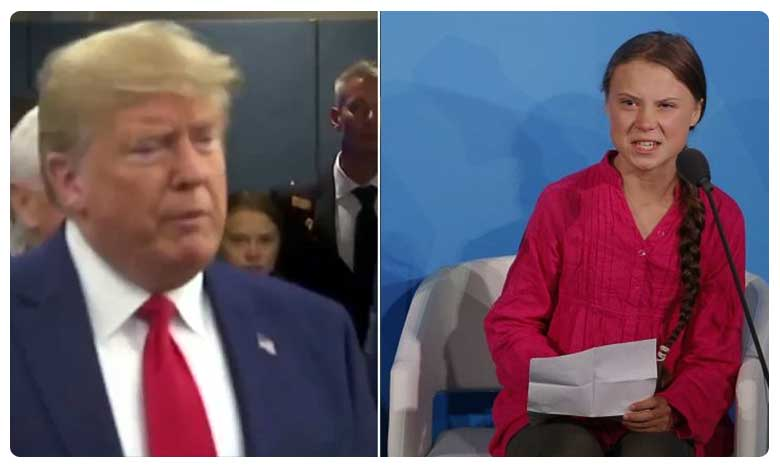Greta Thunberg was about to make her entrance at Monday's UN Climate Action Summit in New York, ట్రంప్ ను ఉరిమి చూసిందెవరు ? 16 ఏళ్ళ చిన్నదే మరి ?