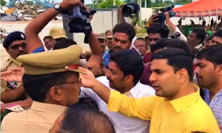 chandrababu son placed under house arrest ahead of protest rally, ఆత్మకూరు వెళ్లి తీరుతా.. చంద్రబాబు.. వైసీపీ నేతల కౌంటర్