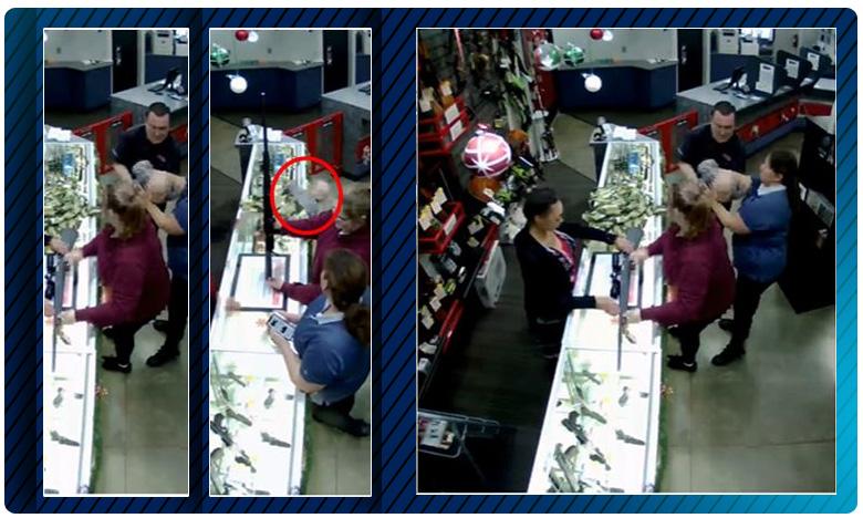 Store Manager Catches Baby Who Fell Off Shops Counter Becomes Internet Hero, కింద పడబోయిన చిన్నారి..తృటిలో తప్పిన ప్రమాదం