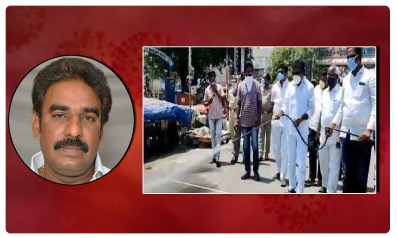 Coronavirus Effect: YCP MLA Pinnelli Ramakrishna Reddy Cleans Roads at Guntur, కరోనా అలెర్ట్: రోడ్లు శుభ్రం చేసిన వైసీపీ ఎమ్మెల్యే