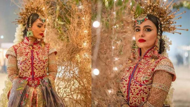 bridal 2 Bride wearing a rare crown .. A young couple's wedding that went viral on Netflix .. - pakistan bridal innovative decoration for her wedding shoot