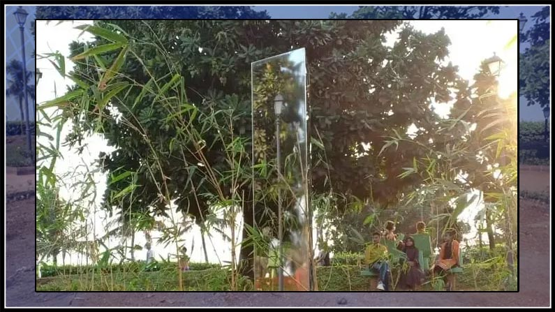india's second mysterious monolith appear in mumbai park, mumbai, park, monolith, second, 7 feet high, numbers, code, ahmadabad, park
