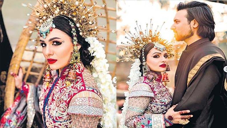 pakistan bridal Bride wearing a rare crown .. A young couple's wedding that went viral on Netflix .. - pakistan bridal innovative decoration for her wedding shoot