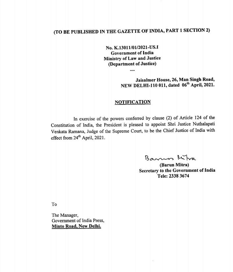 President Appoints Justice Nv Ramana As Cji