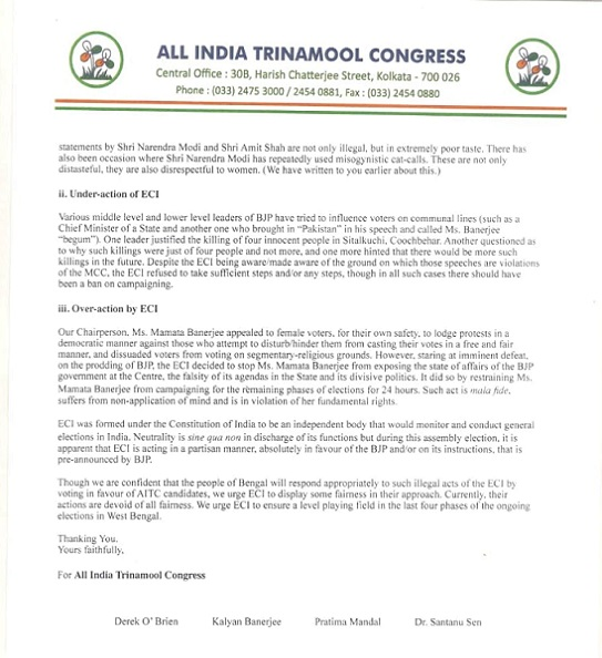 Tmc Alleges In Letter To Poll Panel 1