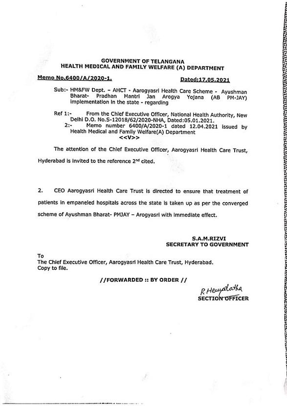 Telangana Joins Ayushman Bharat