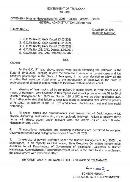 Telangana Unlock Guidelines